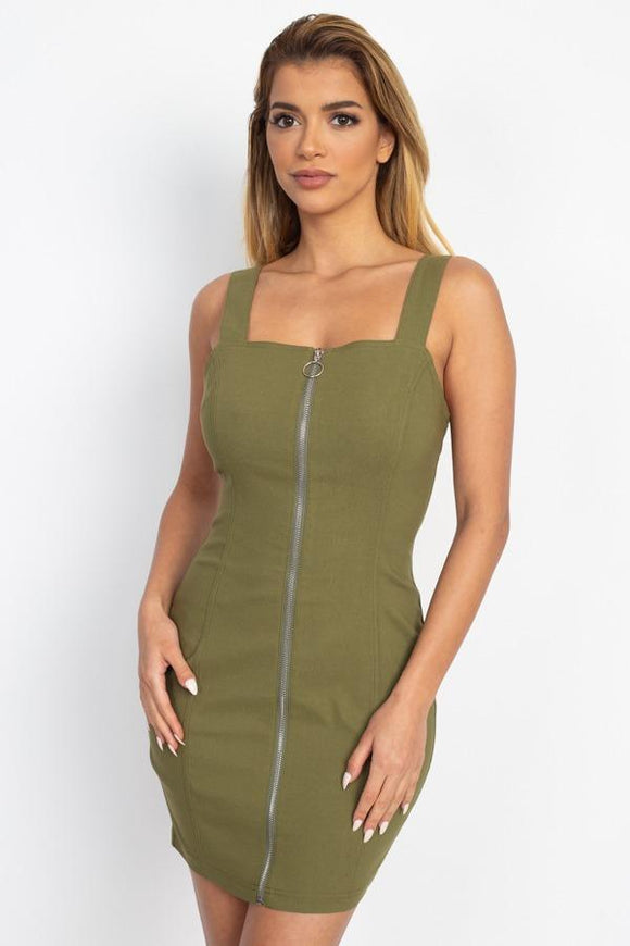 Front Zip Mini Dress - APPLES PEACHES PEARS