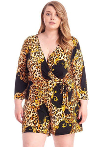 Leopard Print Loose Fit Romper - APPLES PEACHES PEARS