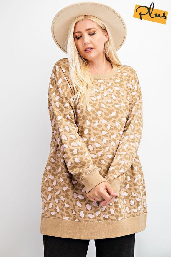 Leopard Printed Terry Knit Dress - APPLES PEACHES PEARS