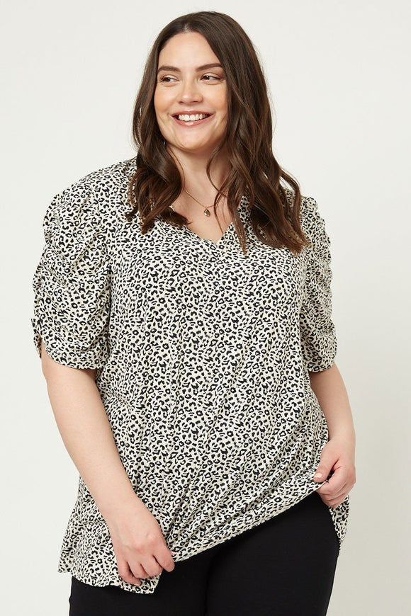 Leopard V-neck Tee - APPLES PEACHES PEARS
