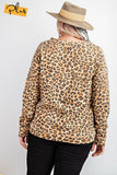 Long Sleeve Leopard Printed Terry Knit Pullover - APPLES PEACHES PEARS