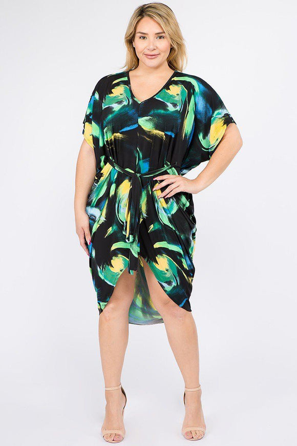 Multi Color Print Short Sleeve Kimono Dress With Waist Tie - APPLES PEACHES PEARS