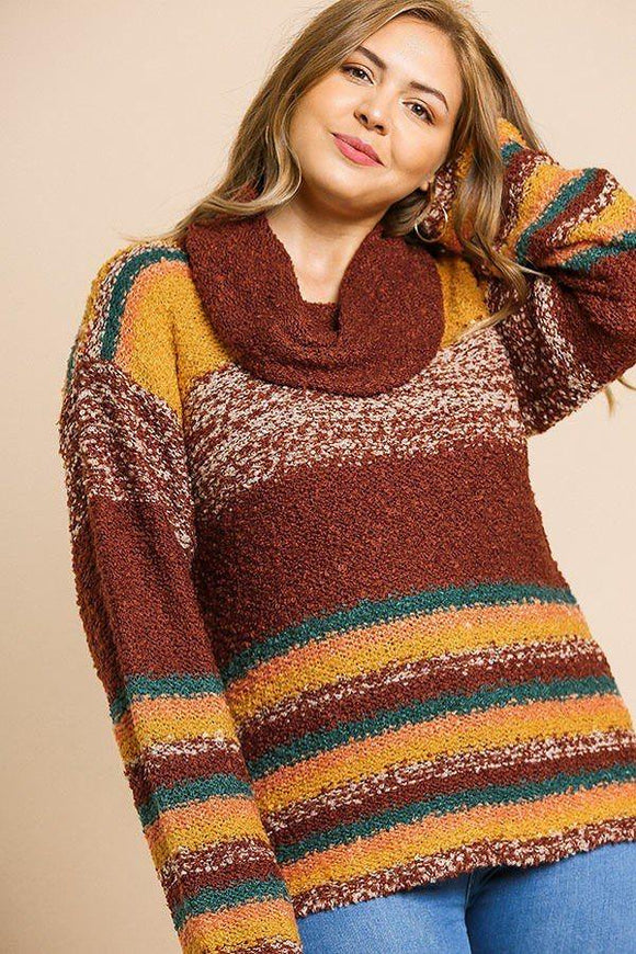 Multicolor Striped Fuzzy Knit Long Sleeve Pullover - APPLES PEACHES PEARS