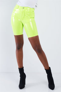 Neon Lime Green Faux Leather Biker Shorts - APPLES PEACHES PEARS
