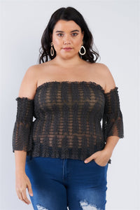 Off The Shoulder Plus Size Top - APPLES PEACHES PEARS