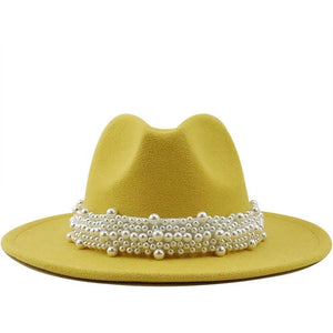 """Pearls Jewels"" Fedora Hat - APPLES PEACHES PEARS"