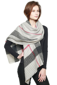Plaid Pattern Pleated Scarf - APPLES PEACHES PEARS