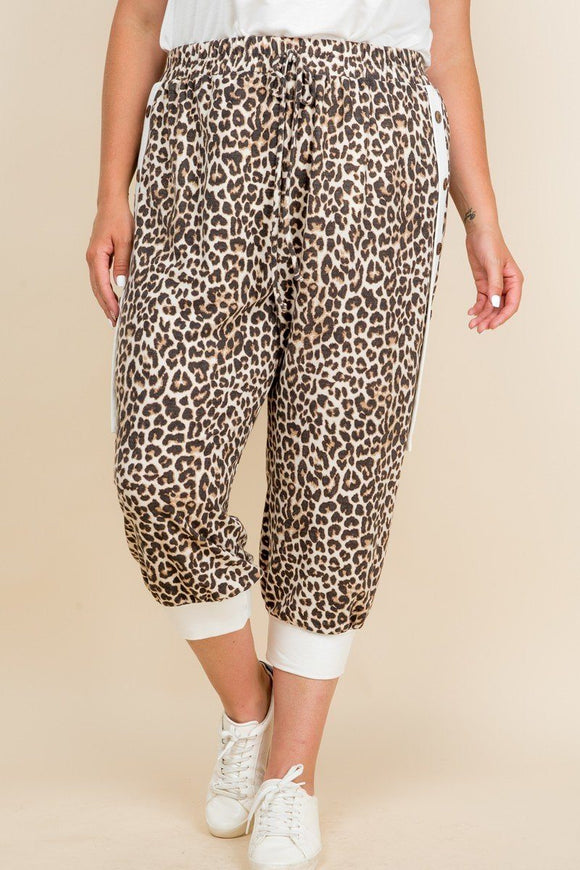 Plus Size Animal Print French Terry Cropped Jogger Pants - APPLES PEACHES PEARS
