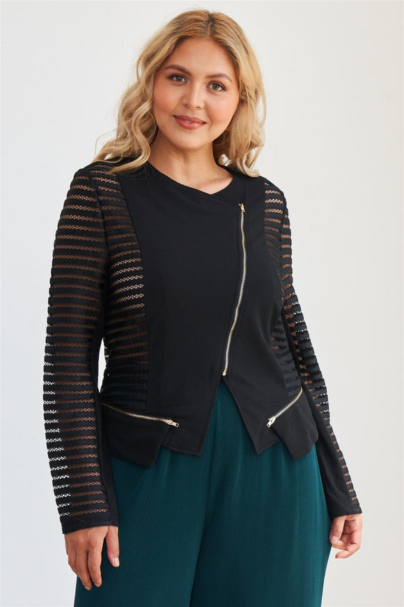 Plus Size Black Mesh Stripped Chiffon Long Sleeve Jacket - APPLES PEACHES PEARS