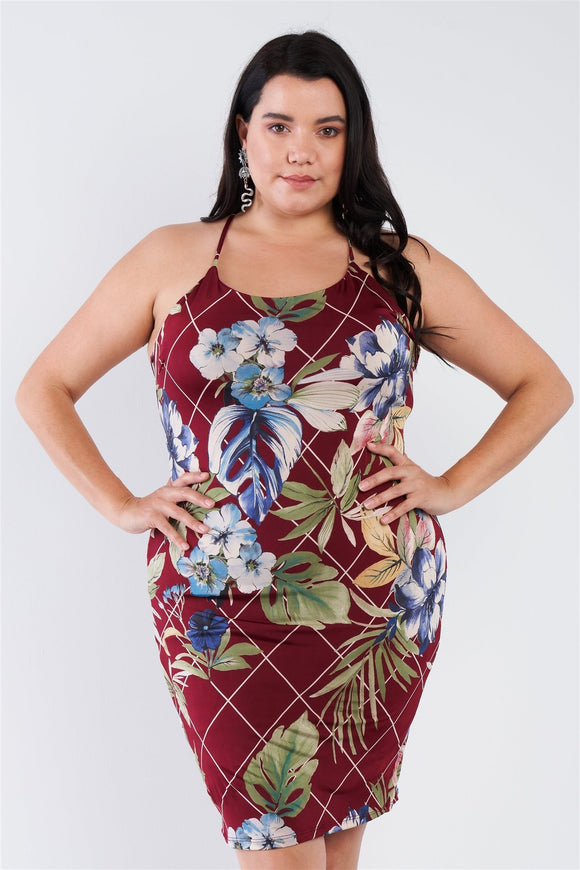Plus Size Criss-cross Open Back Mini Floral Print Dress - APPLES PEACHES PEARS