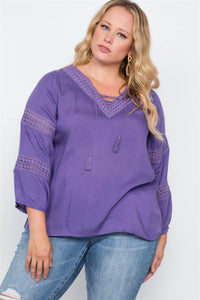 Plus Size Crochet Trim V-neck Boho Top - APPLES PEACHES PEARS