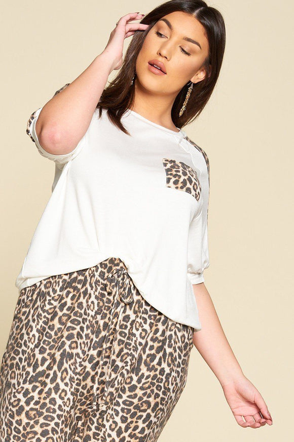 Plus Size Cute Animal Print Pocket French Terry Casual Top - APPLES PEACHES PEARS
