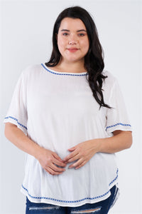 Plus Size Embroidered Hem Short Sleeve Top - APPLES PEACHES PEARS