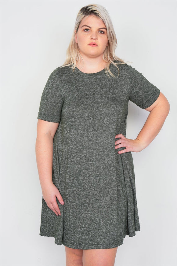 Plus Size Flare Casual Cuffed Short Sleeve Mini Shirt Dress - APPLES PEACHES PEARS