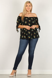 Plus Size Floral Print, Top - APPLES PEACHES PEARS