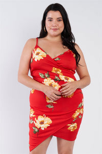 Plus Size Floral Print V-neck Cinched Size Chic Mini Dress - APPLES PEACHES PEARS