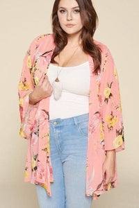 Plus Size Floral Printed Oversize Flowy And Airy Kimono With Dramatic Bell Sleeves - APPLES PEACHES PEARS