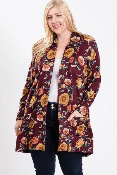 Plus Size Flower Print Pocket Flower Print Hacci Cardigan - APPLES PEACHES PEARS