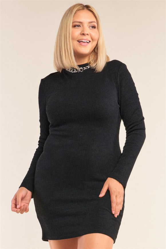 Plus Size Long Sleeve Ribbed Knit Sexy Cut Out Back Mini Dress - APPLES PEACHES PEARS