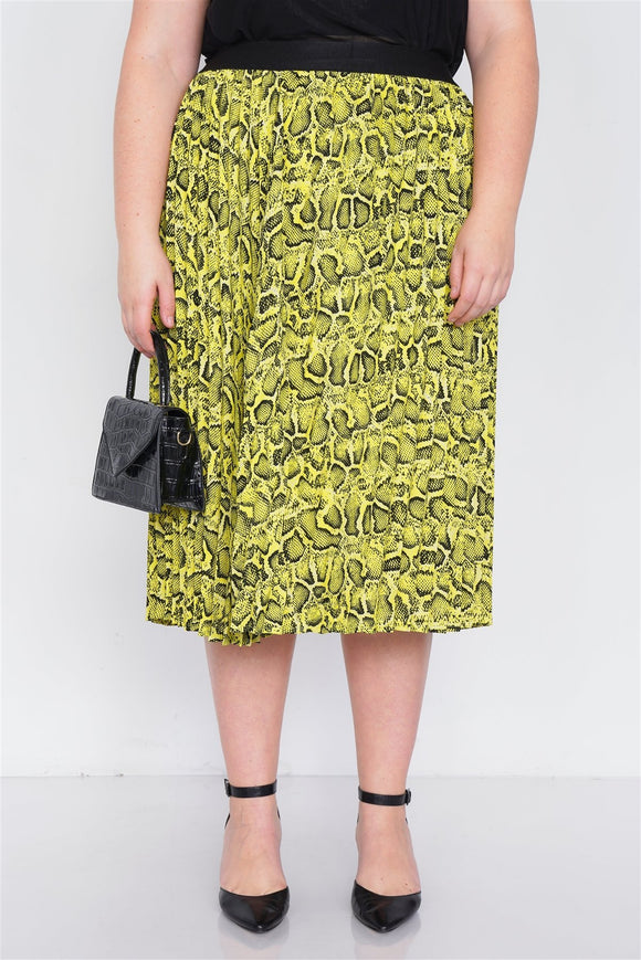 Plus Size Neon Yellow Pleated Animal Print Chic Midi Skirt - APPLES PEACHES PEARS