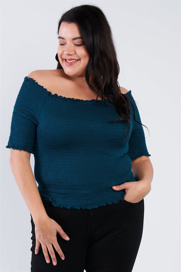 Plus Size Off The Shoulder Top - APPLES PEACHES PEARS