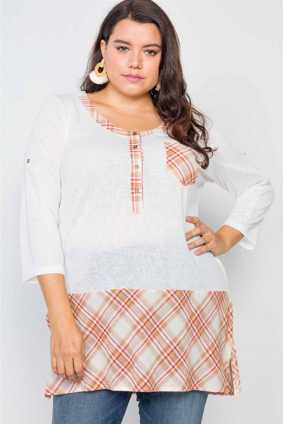 Plus Size Plaid Combo Plus Size Top - APPLES PEACHES PEARS