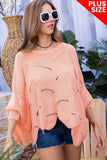 Plus Size Round Neck Long Batwing Sleeve Scalloped Edge Sweater - APPLES PEACHES PEARS