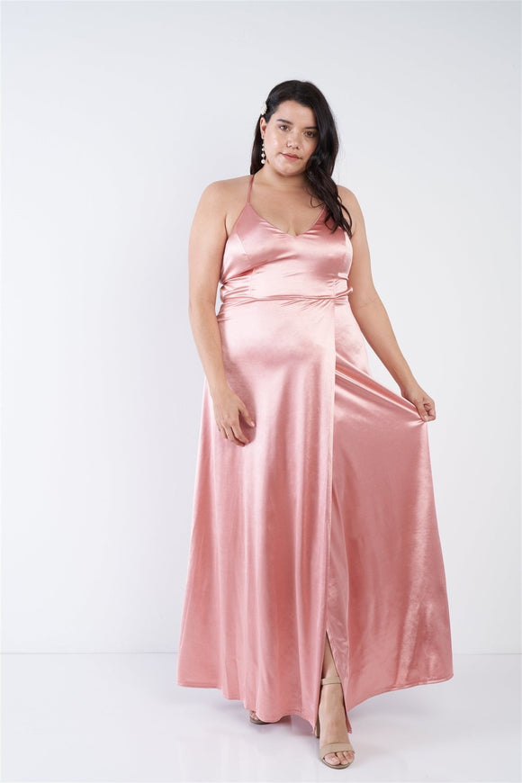 Plus Size Satin Open Criss Cross Back Maxi Dress - APPLES PEACHES PEARS