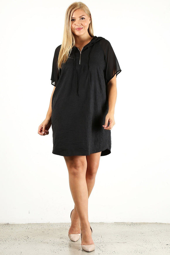 Plus Size Solid Dress With Zip-up Closure - APPLES PEACHES PEARS
