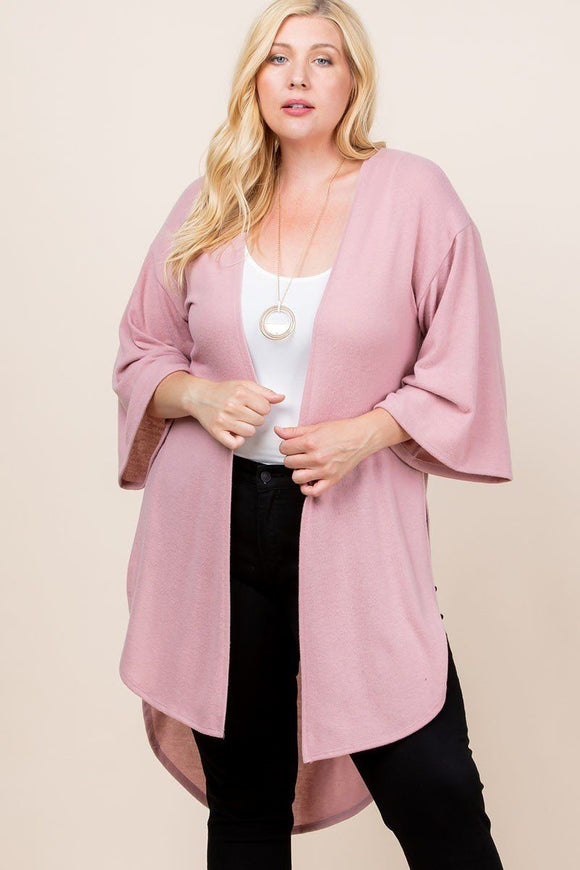 Plus Size Solid Hacci Brush Open Front Long Cardigan With Bell Sleeves - APPLES PEACHES PEARS