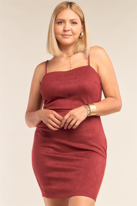 Plus Size Suede Sleeveless Fitted Square Neck Mini Dress - APPLES PEACHES PEARS