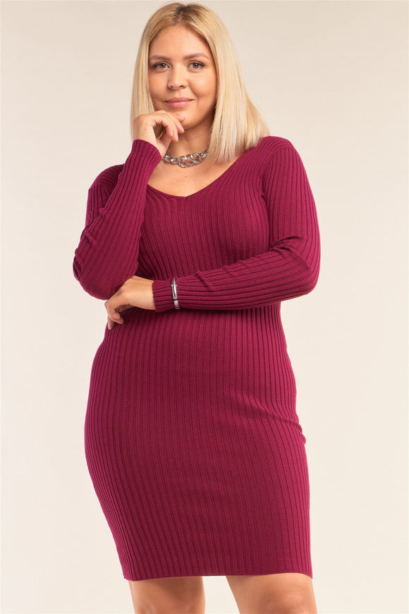 Plus Size V-neck Long Sleeve Ribbed Sweater Bodycon Mini Dress - APPLES PEACHES PEARS