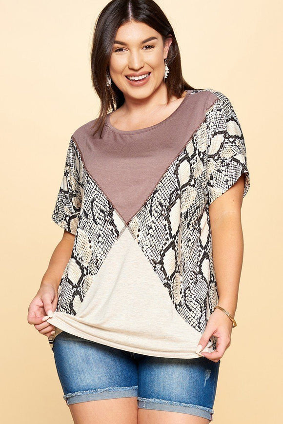 Python Printed Knit Top - APPLES PEACHES PEARS