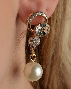 Rhinestone Faux Pearl Dangle Earrings - APPLES PEACHES PEARS