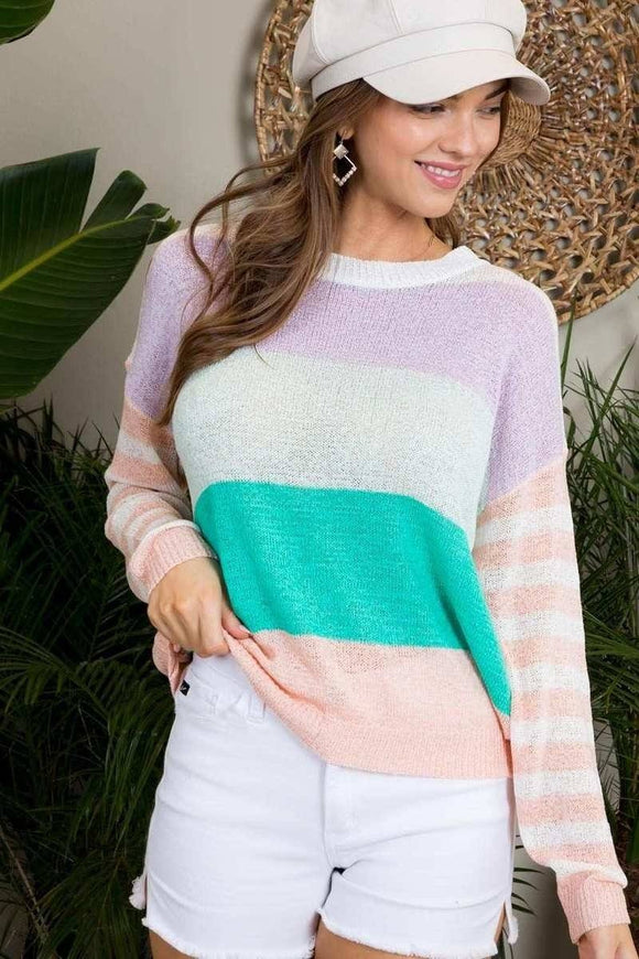 Round Neck Stripe Print Long Sleeve Color Block Sweater - APPLES PEACHES PEARS