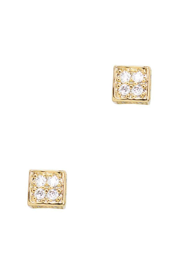 Secret Box Square Stone Stud Earring - APPLES PEACHES PEARS