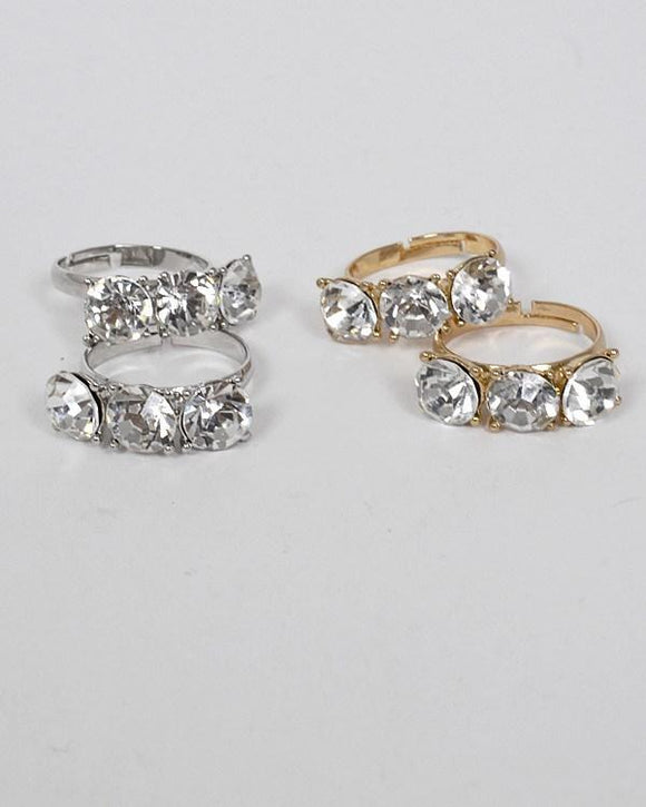 Set of Two Small Crystal Studded Ring - APPLES PEACHES PEARS
