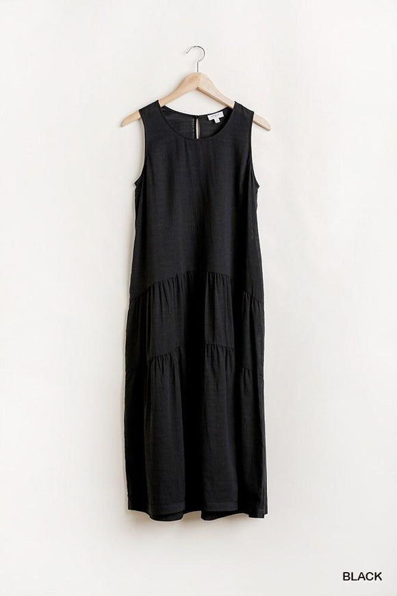Sleeveless Tier Maxi Dress With Back Keyhole - APPLES PEACHES PEARS