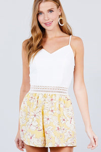 Sleeveless V-neck Waist Elastic Lace Band Print Romper - APPLES PEACHES PEARS