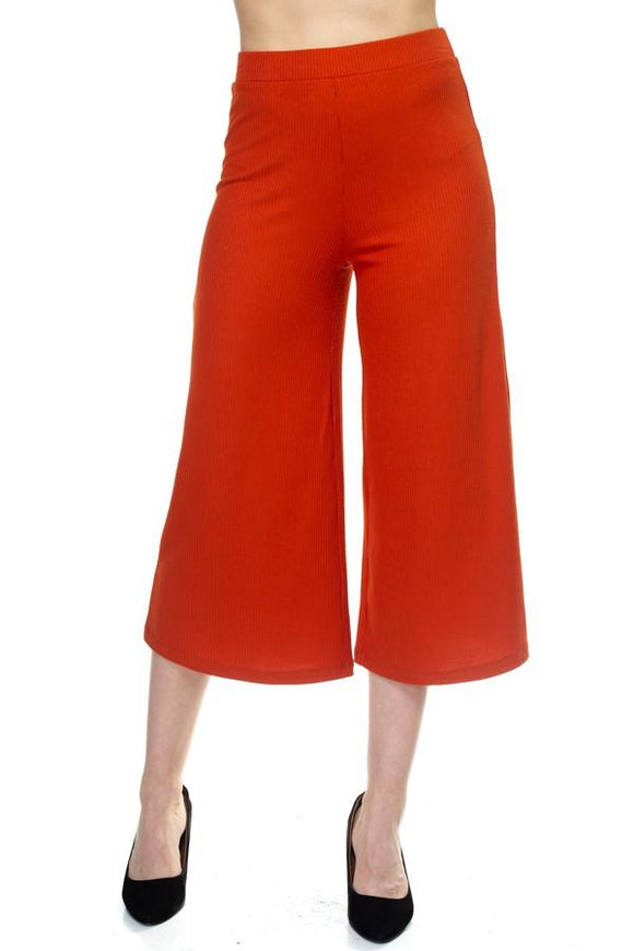 Solid Wide Leg Pants - APPLES PEACHES PEARS