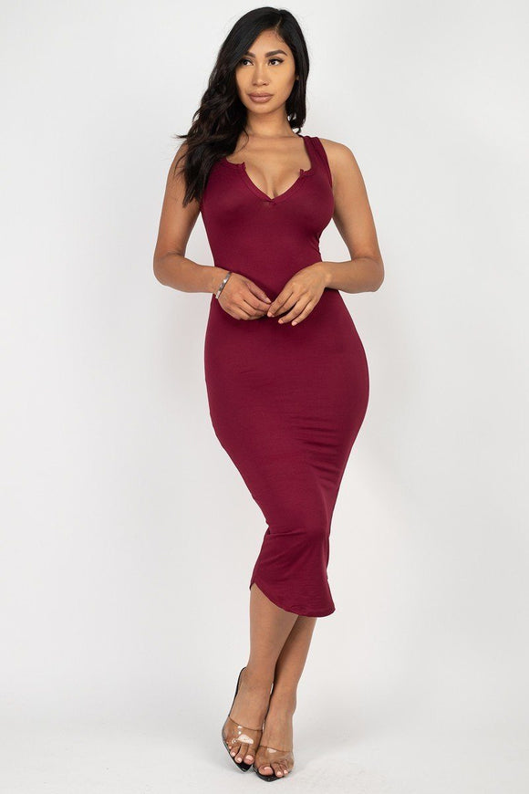 Split Neck Bodycon Dress - APPLES PEACHES PEARS