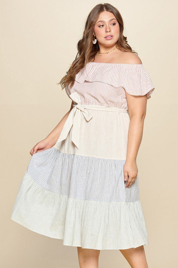 Tiered Off-shoulder Flounce Dress Featuring Stripe Details And Self Ties. - APPLES PEACHES PEARS