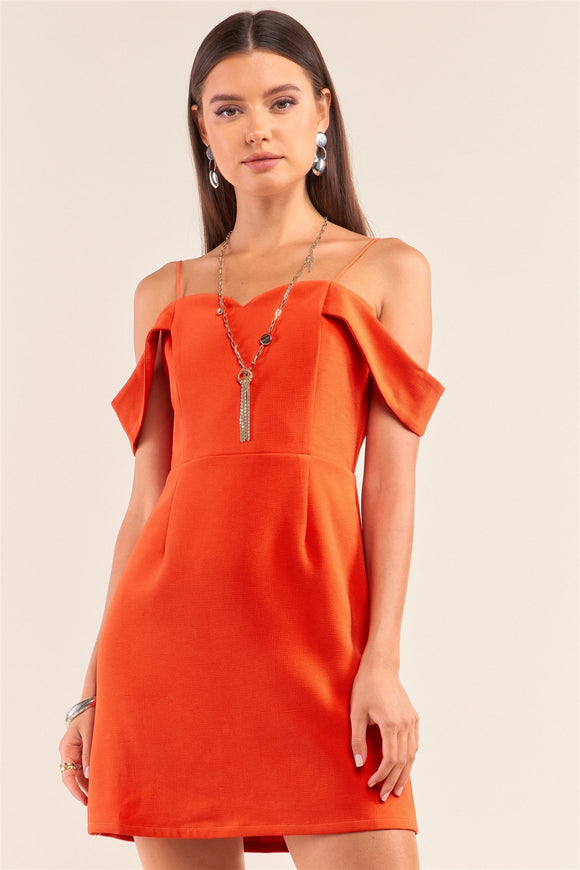 Tomato Red Sweetheart Neck Off The Shoulder Mini Dress - APPLES PEACHES PEARS