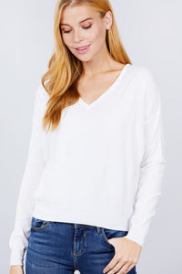 V-neck Back Cross Sweater - APPLES PEACHES PEARS