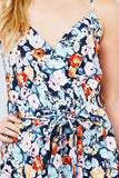 V-neck W/wrap Adjustable Spaghetti Straps Waist Belt Printed Knit Romper - APPLES PEACHES PEARS