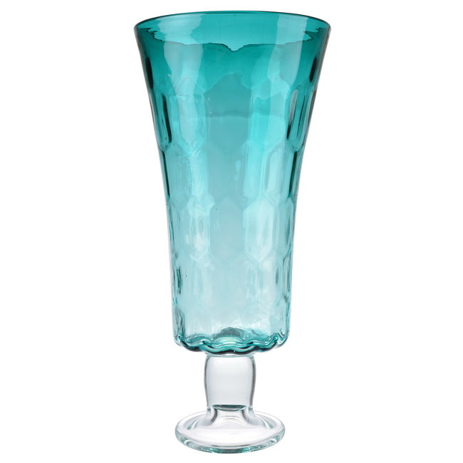 Aqua Footed Hurricane Vase Tall