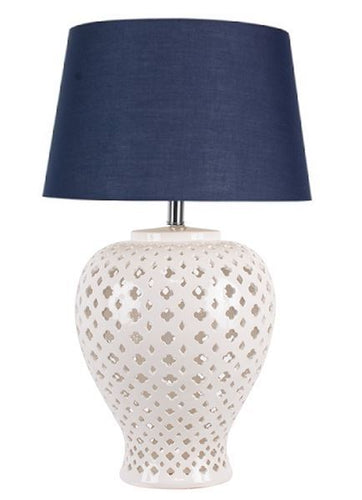 Lattice Tall Antique White Table Lamp Blue