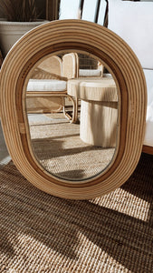 The Oval Rattan Mirror