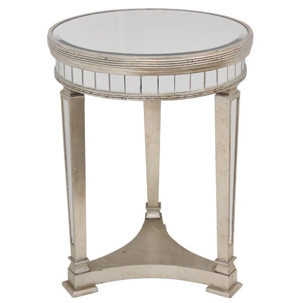 Mirrored Pedestal Round Side Table Antiqued Ribbed