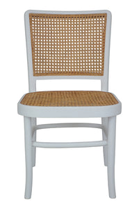 Palm Rattan Dining Chair White & Natural-Find It Style It Home